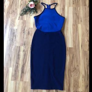 Bodycon blue cutout back knee length Express dress